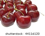 Several cherries isolated over a white background. - stock photo