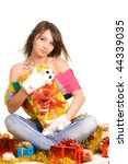 girl sit among gift boxes - stock photo