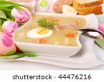white borscht with eggs and  sausage  for easter - stock photo