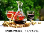 Glass of withe and red wine. - stock photo
