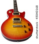 Les Paul electric guitar in Cherry sunburst colour isolated on white background. - stock photo
