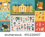School theme set. Back to school, workplace, school kids and other elements. Vector illustration. - stock vector