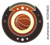 Basketball icon on round red and brown imperial vector button with star accents - stock vector