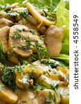 Mushroom meal with salad and dill - stock photo