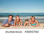 Family on summer vacation - stock photo