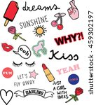 stickers, patches and handwritten notes collection - stock vector