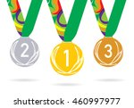 Three olympic medals on the ribbon. Vector illustration. Gold, silver and bronze Rio 2016 olympic medals. Laurel leaf on the medal face. - stock vector