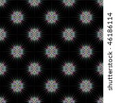 Computer generated fractal image with a seamless design of colorful star-bursts on a black background. - stock photo