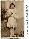 Vintage (circa 1933) first communion photo - stock photo