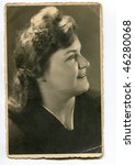 Vintage (circa 1940) woman's portrait - stock photo