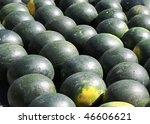 Background of watermelons on display in market. - stock photo