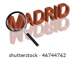 exploring city red letters in 3D part of word enlarged by magnifying glass Spain Madrid city trip holiday tourism icon button travel traveling visit - stock photo