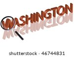 exploring city red letters in 3D part of word enlarged by magnifying glass Washington city trip holiday tourism icon button travel traveling visit - stock photo
