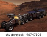 Scientific exploration vehicle for Mars with laboratory trailers - stock photo
