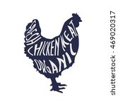"Chicken silhouette with text ""Fresh Chicken Meat Organic"". Hen Meat label. - stock vector"