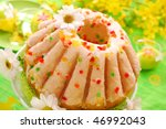traditional easter ring cake with glaze - stock photo