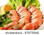 shrimp with lemon isolated on the white - stock photo