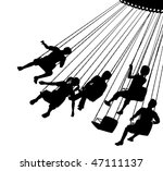 Editable vector silhouette of children on a fairground ride with each child as a separate object. - stock vector