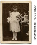 Vintage first communion photo - stock photo