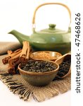 tea and ingredients for tea - stock photo