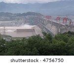Three Gorges Dam, China, on the Yangtze River - stock photo