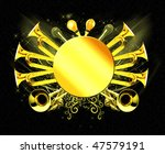 Golden music background - stock photo