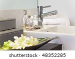 bathroom detail in modern townhouse - stock photo