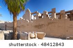 Part of ancient wall. The Karnak Temple Complex. Luxor, Egypt. - stock photo