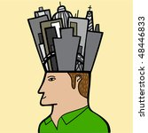 a man with a city in his head - stock vector