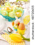 table decoration for easter time - stock photo