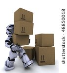 3D render of a robot moving shipping boxes - stock photo