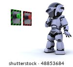 3D render of a robot and push button - stock photo