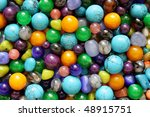 many-colored beads from the semiprecious  stones - stock photo