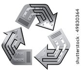 Artistic recycling symbol made of steel. Conceptual 3D illustration. Environment and ecology industry concept. Isolated on white background. - stock photo