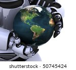 3D Render of a man protecting a globe - stock photo
