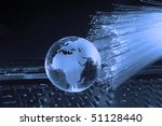 globe with high technology background - stock photo