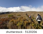 Hiking the Tongariro Crossing - stock photo