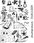 hand draw death symbols - stock vector