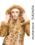 The girl in a fur coat - stock photo