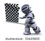 3D render of a Robot waving chequered flag - stock photo