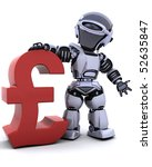 3d render of a robot with a pound symbol - stock photo