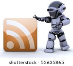 3D render of a robot with an RSS icon - stock photo