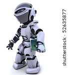 3D render of robot with document and folder - stock photo