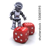 3D render of robot rolling casino dice - stock photo