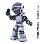 3d render of robot with smart phone - stock photo