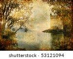 swiss castle beside autumn lake- artistic vintage picture - stock photo