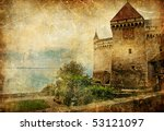 Medieval swiss castle (from my castles collection) - stock photo