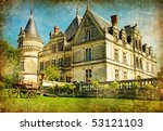 old french castle- artistic vintage picture - stock photo
