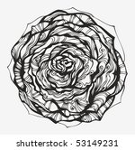 Abstract ornamental rose - hand drawn high quality curved silhouette - stock vector