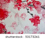 Cherry Blossoms Watercolor 7 - stock photo